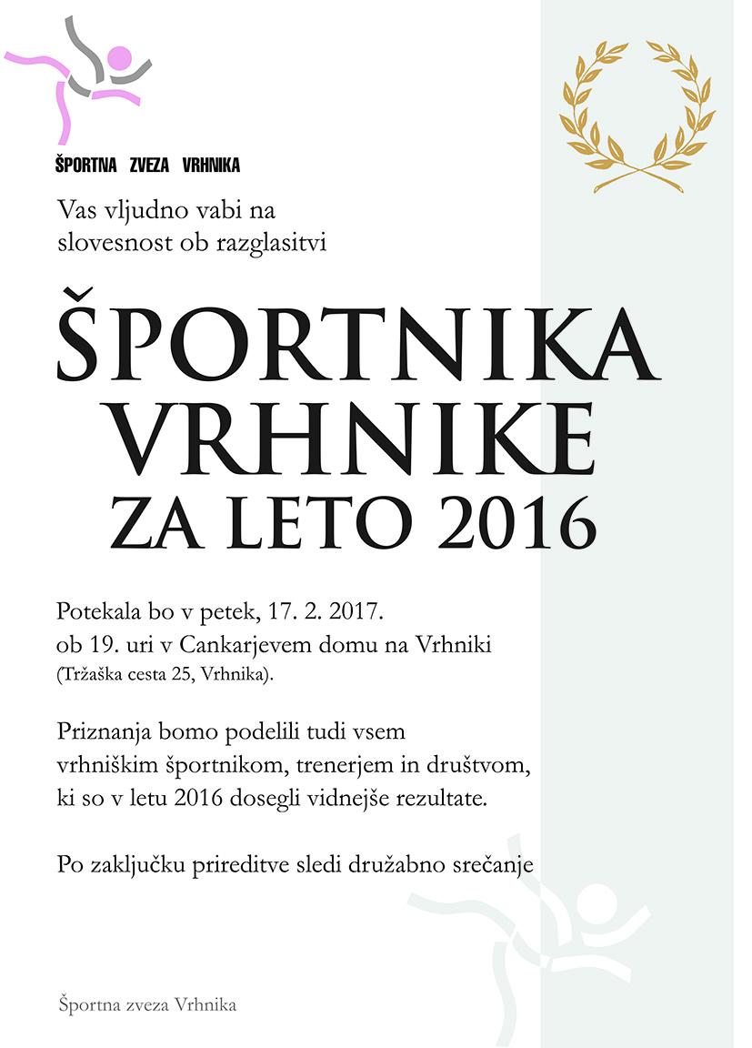 Športnik Vrhnike 2016